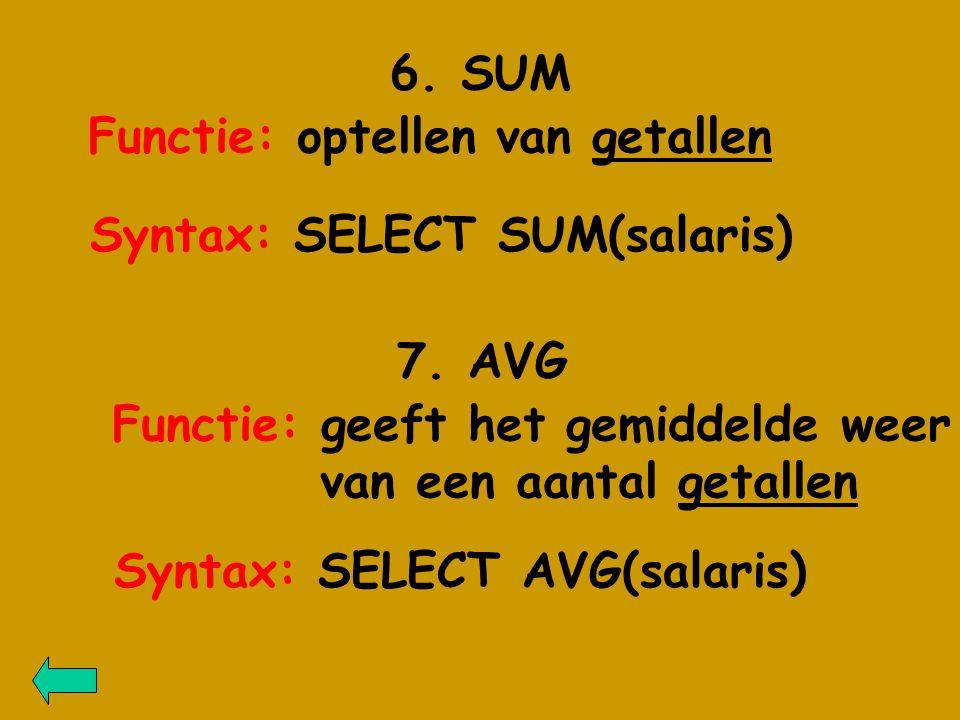 6. SUM Functie: optellen van getallen 7.