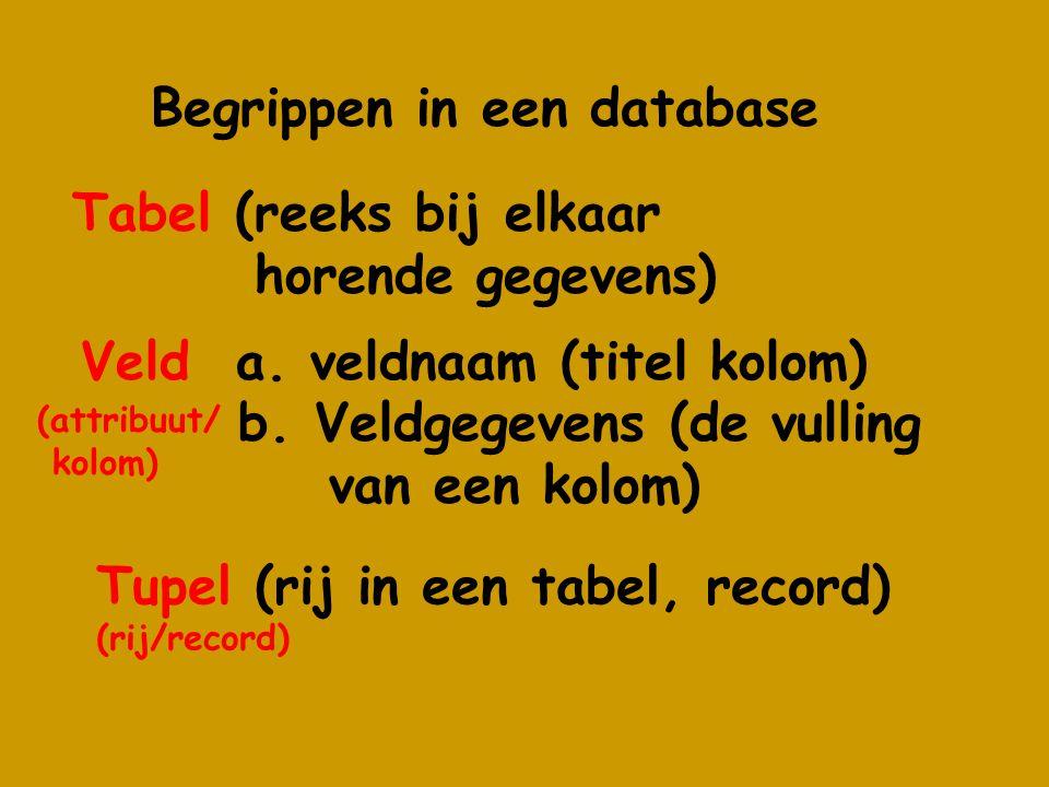 Begrippen in een database Veld a. veldnaam (titel kolom) b.