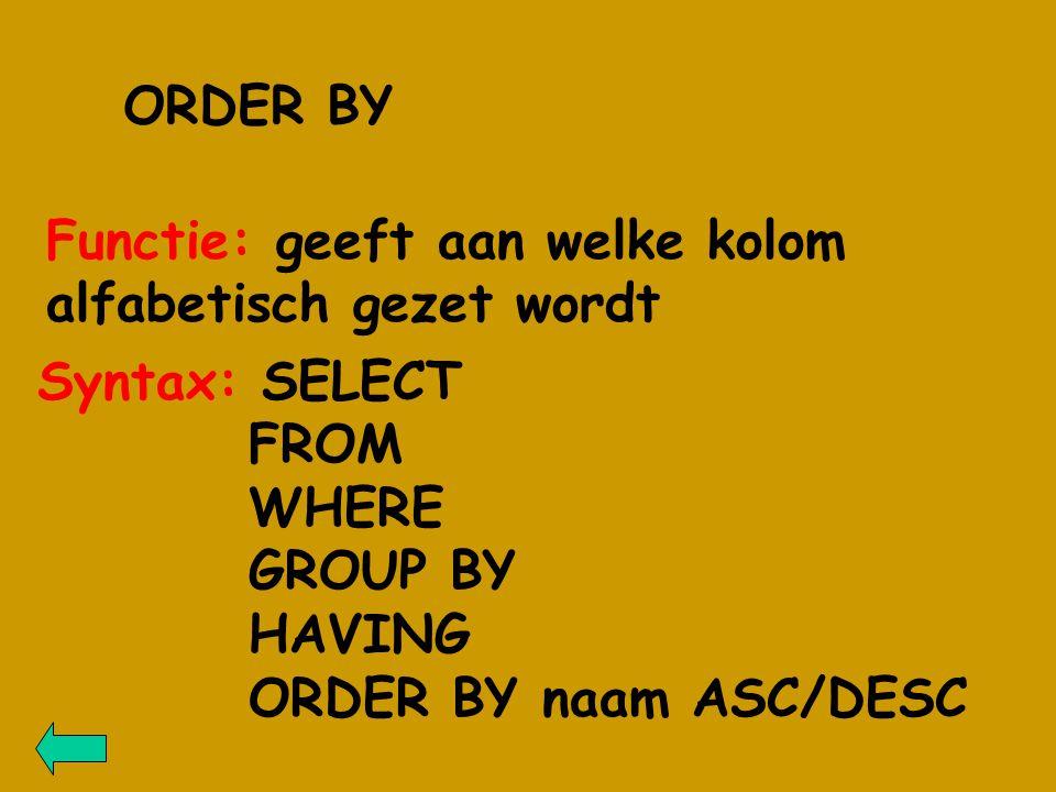 ORDER BY Functie: geeft aan welke kolom alfabetisch gezet wordt Syntax: SELECT FROM WHERE GROUP BY HAVING ORDER BY naam ASC/DESC
