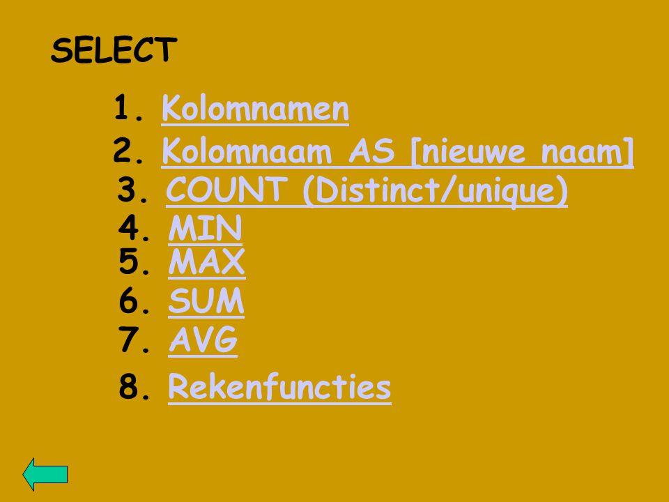 SELECT 1. KolomnamenKolomnamen 2. Kolomnaam AS [nieuwe naam]Kolomnaam AS [nieuwe naam] 3.