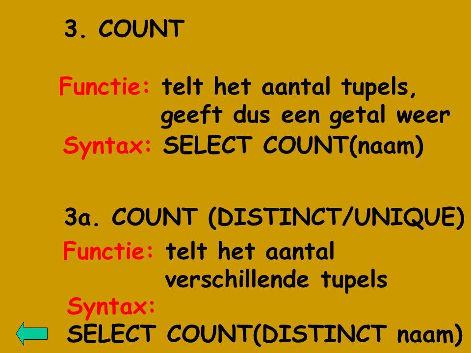 3a. COUNT (DISTINCT/UNIQUE) Functie: telt het aantal tupels, geeft dus een getal weer 3.
