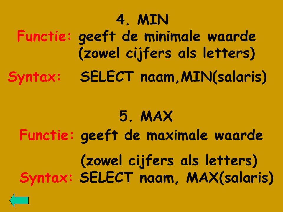 4. MIN Functie: geeft de minimale waarde (zowel cijfers als letters) Syntax: SELECT naam, MAX(salaris) 5. MAX Functie: geeft de maximale waarde (zowel