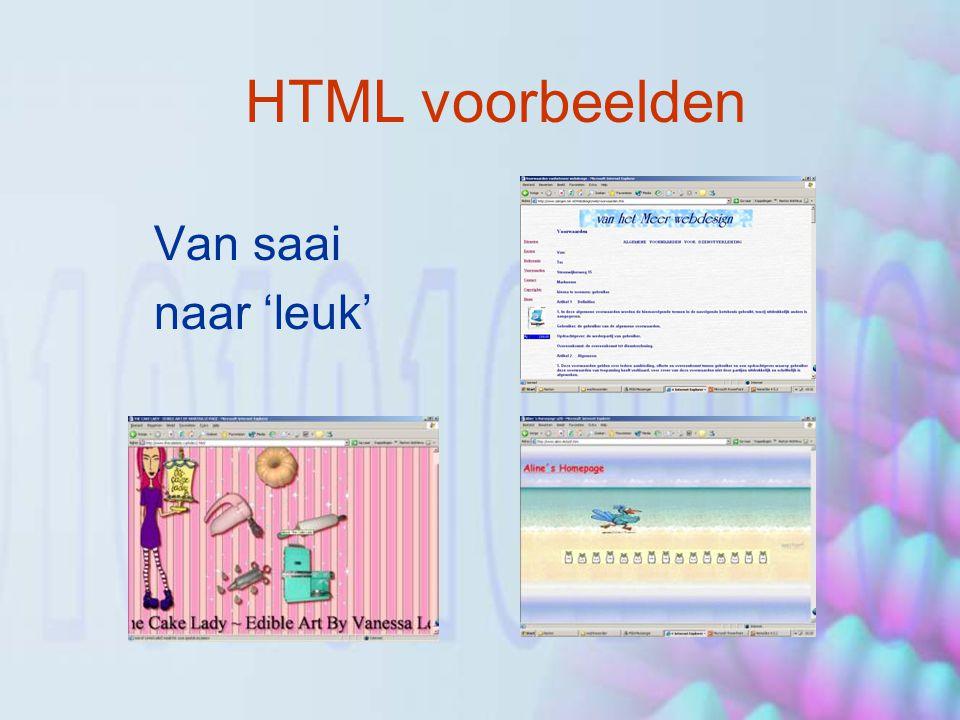 HTML – en toen …(1) Probleem: navigatie –Oplossing: Frames Probleem: controle over indeling pagina –Oplossing: Tabellen