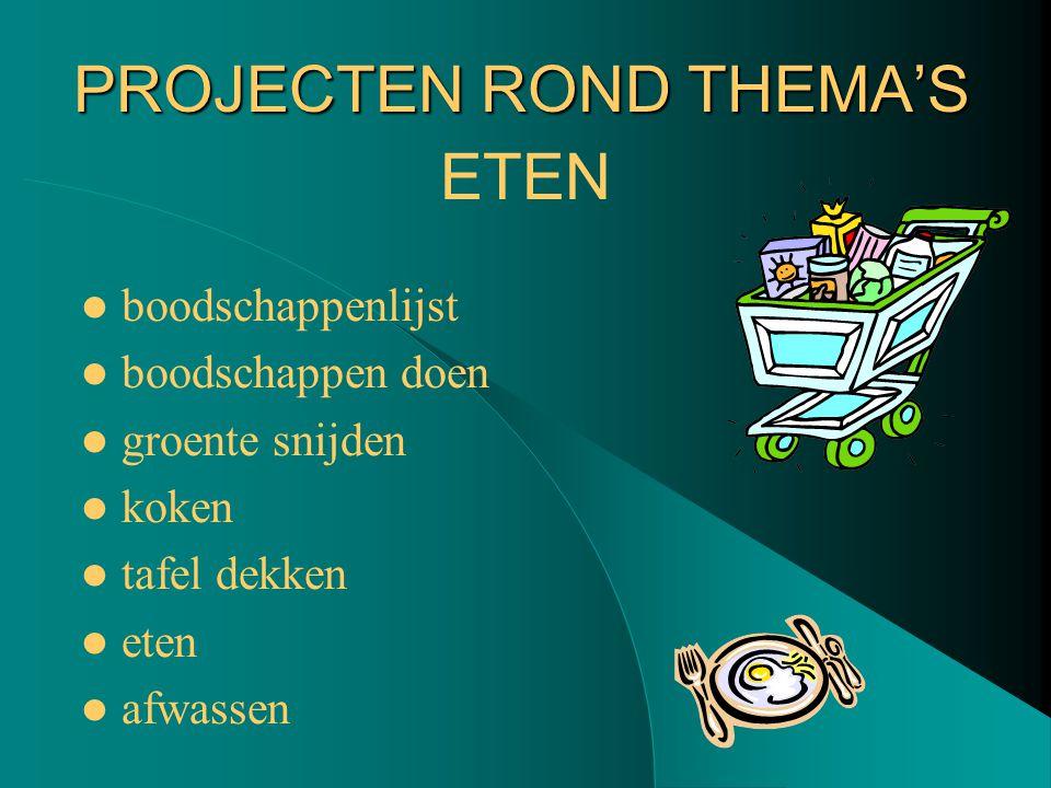 PROJECTEN ROND THEMA'S boodschappenlijst boodschappen doen groente snijden koken tafel dekken eten afwassen ETEN