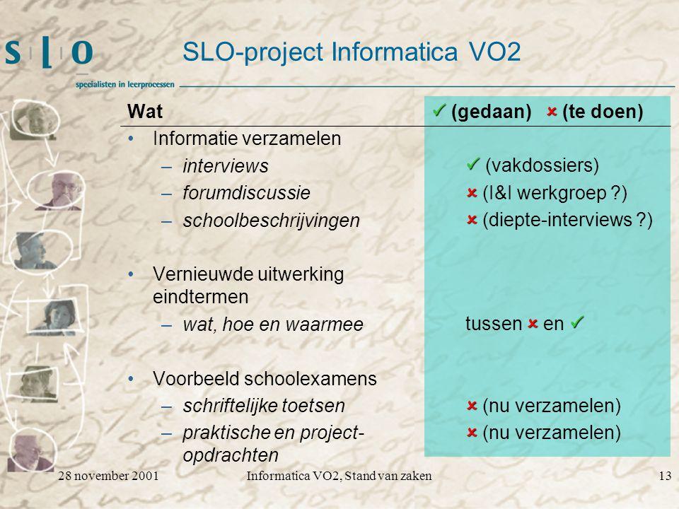 28 november 2001Informatica VO2, Stand van zaken13 SLO-project Informatica VO2 Wat Informatie verzamelen –interviews –forumdiscussie –schoolbeschrijvi