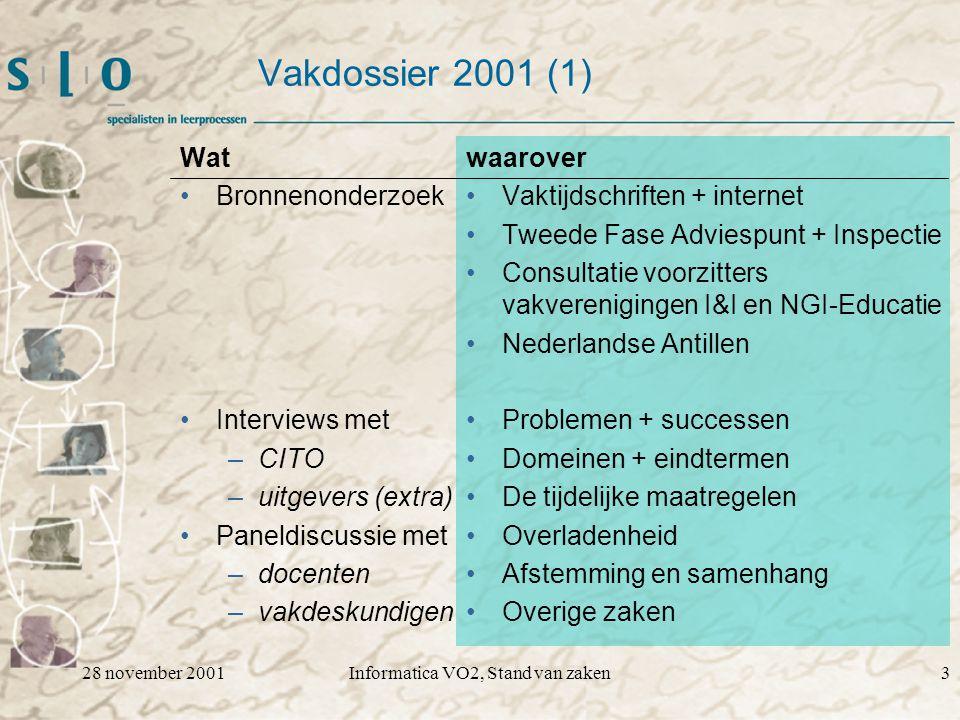 28 november 2001Informatica VO2, Stand van zaken14 Voorbeeld van huidige uitwerking Eindterm 17 De kandidaat kan uitleggen dat een computer een apparaat is dat door middel van codering gegevens representeert.