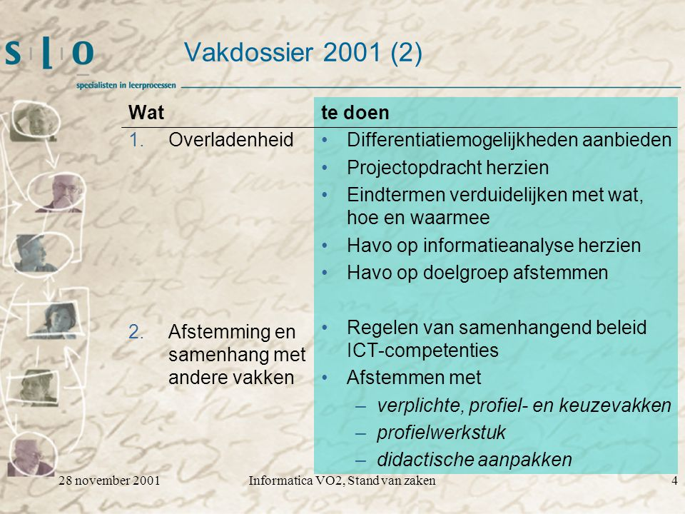 28 november 2001Informatica VO2, Stand van zaken4 Vakdossier 2001 (2) Wat 1.Overladenheid 2.Afstemming en samenhang met andere vakken te doen Differentiatiemogelijkheden aanbieden Projectopdracht herzien Eindtermen verduidelijken met wat, hoe en waarmee Havo op informatieanalyse herzien Havo op doelgroep afstemmen Regelen van samenhangend beleid ICT-competenties Afstemmen met –verplichte, profiel- en keuzevakken –profielwerkstuk –didactische aanpakken