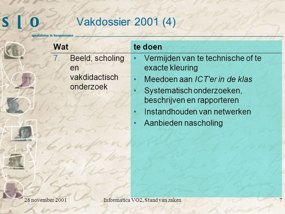28 november 2001Informatica VO2, Stand van zaken7 Vakdossier 2001 (4) Wat 7.Beeld, scholing en vakdidactisch onderzoek te doen Vermijden van te technische of te exacte kleuring Meedoen aan ICT er in de klas Systematisch onderzoeken, beschrijven en rapporteren Instandhouden van netwerken Aanbieden nascholing