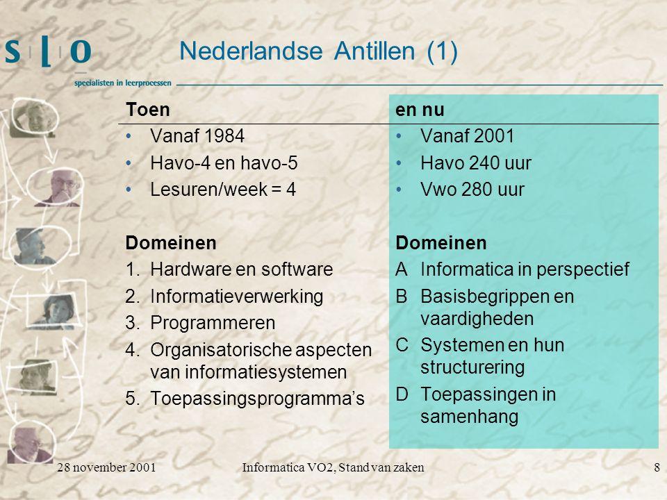 28 november 2001Informatica VO2, Stand van zaken8 Nederlandse Antillen (1) Toen Vanaf 1984 Havo-4 en havo-5 Lesuren/week = 4 Domeinen 1.Hardware en software 2.Informatieverwerking 3.Programmeren 4.Organisatorische aspecten van informatiesystemen 5.Toepassingsprogramma's en nu Vanaf 2001 Havo 240 uur Vwo 280 uur Domeinen A Informatica in perspectief BBasisbegrippen en vaardigheden CSystemen en hun structurering DToepassingen in samenhang