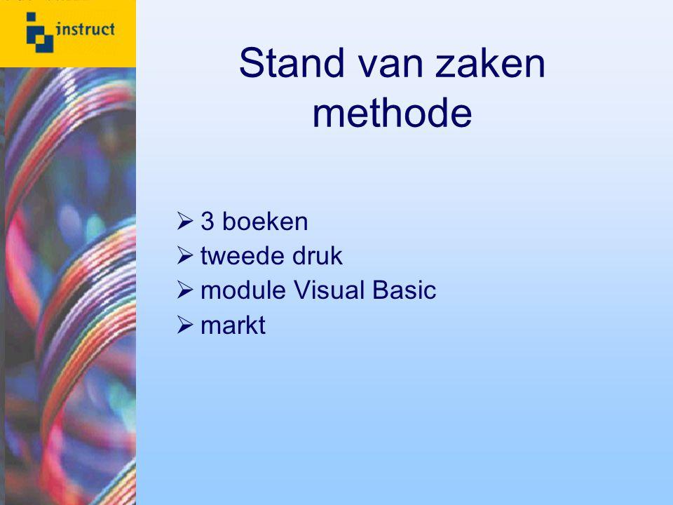 Stand van zaken methode  3 boeken  tweede druk  module Visual Basic  markt