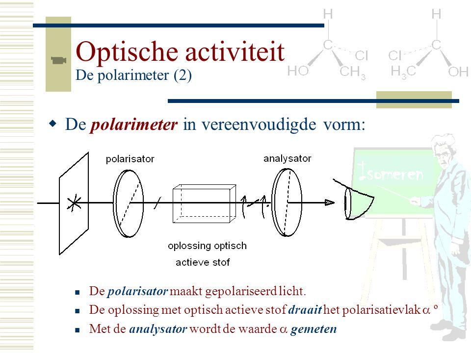 Optische activiteit De polarimeter (2) De polarisator maakt gepolariseerd licht. De oplossing met optisch actieve stof draait het polarisatievlak  º