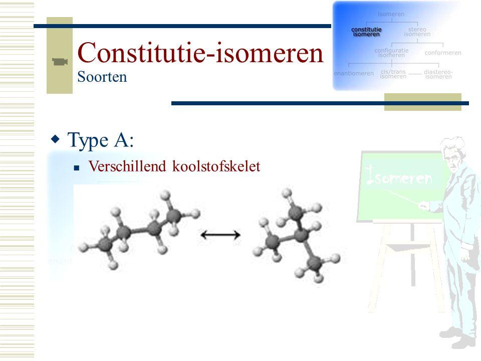 TT ype A: Verschillend koolstofskelet Constitutie-isomeren Soorten