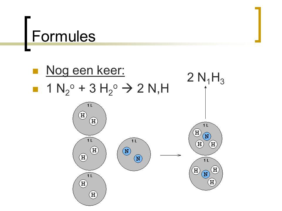 Formules Nog een keer: 1 N 2 o + 3 H 2 o  2 N,H 2 N 1 H 3