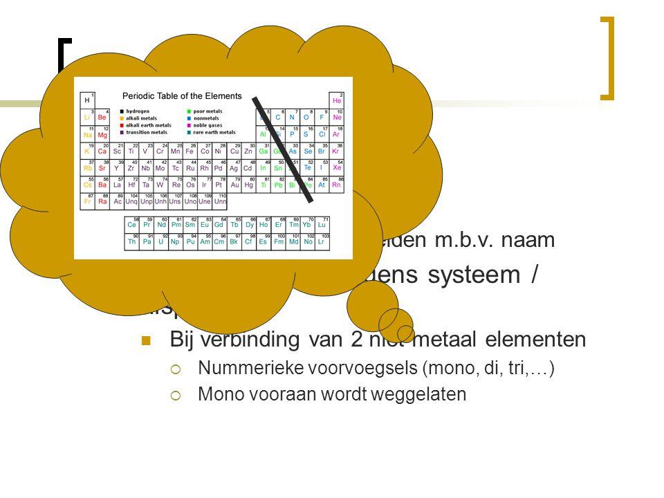 Formules Naamgeving  Triviaal (bijv: chloroform) Kan geen formule afleiden m.b.v. naam  Systematisch (= volgens systeem / afspraak) Bij verbinding v