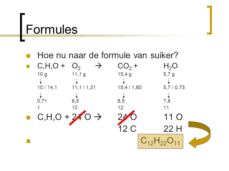 Formules Hoe nu naar de formule van suiker? C,H,O +O 2  CO 2 + H 2 O 10 g11,1 g15,4 g5,7 g 10 / 14,1 11,1 / 1,3115,4 / 1,805,7 / 0,73 0,718,58,57,8 1