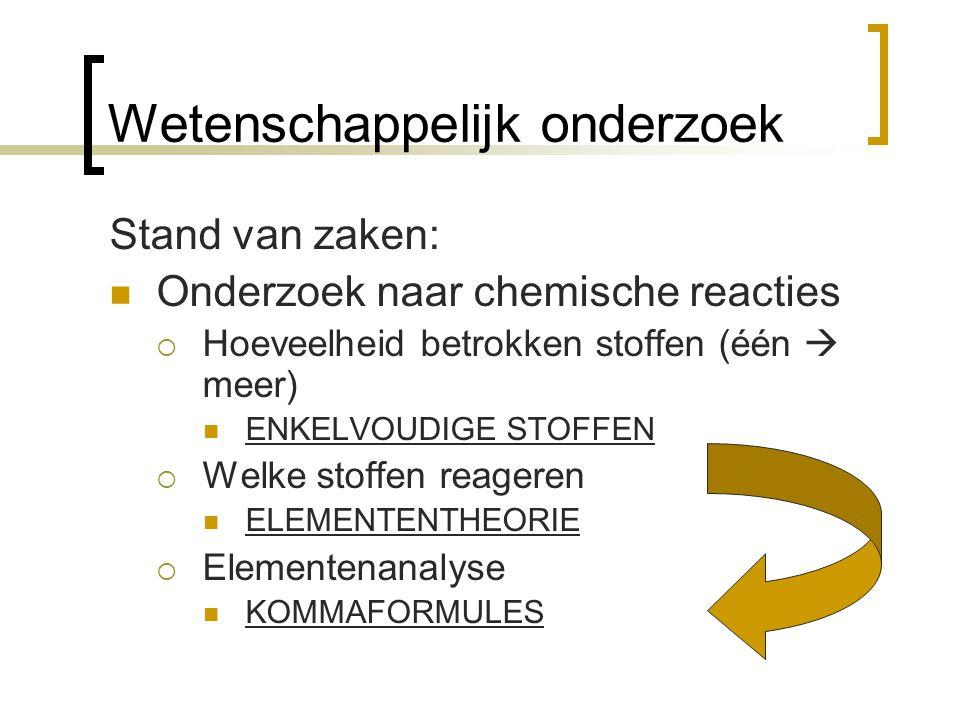 Wetenschappelijk onderzoek Stand van zaken: Onderzoek naar chemische reacties  Hoeveelheid betrokken stoffen (één  meer) ENKELVOUDIGE STOFFEN  Welk