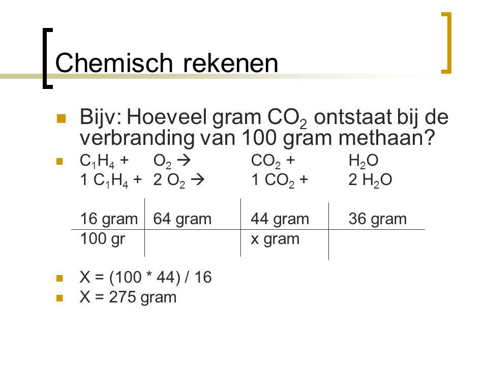 Chemisch rekenen Bijv: Hoeveel gram CO 2 ontstaat bij de verbranding van 100 gram methaan? C 1 H 4 + O 2  CO 2 + H 2 O 1 C 1 H 4 + 2 O 2  1 CO 2 + 2