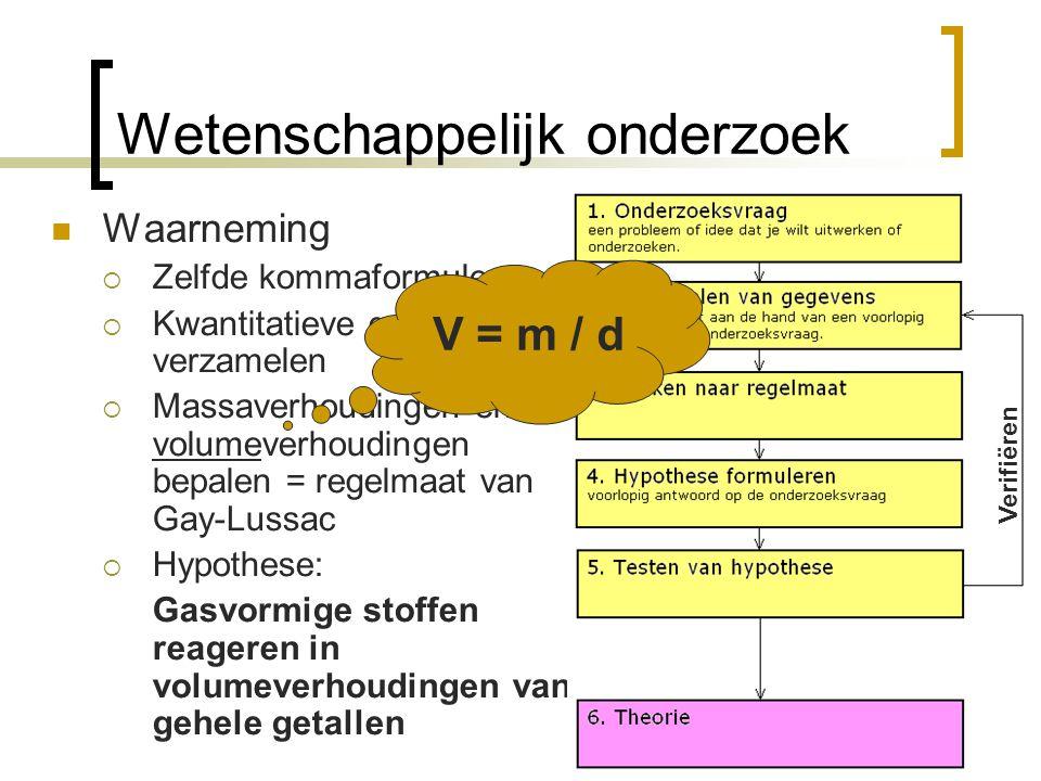 Waarneming  Zelfde kommaformules  Kwantitatieve gegevens verzamelen  Massaverhoudingen en volumeverhoudingen bepalen = regelmaat van Gay-Lussac  H