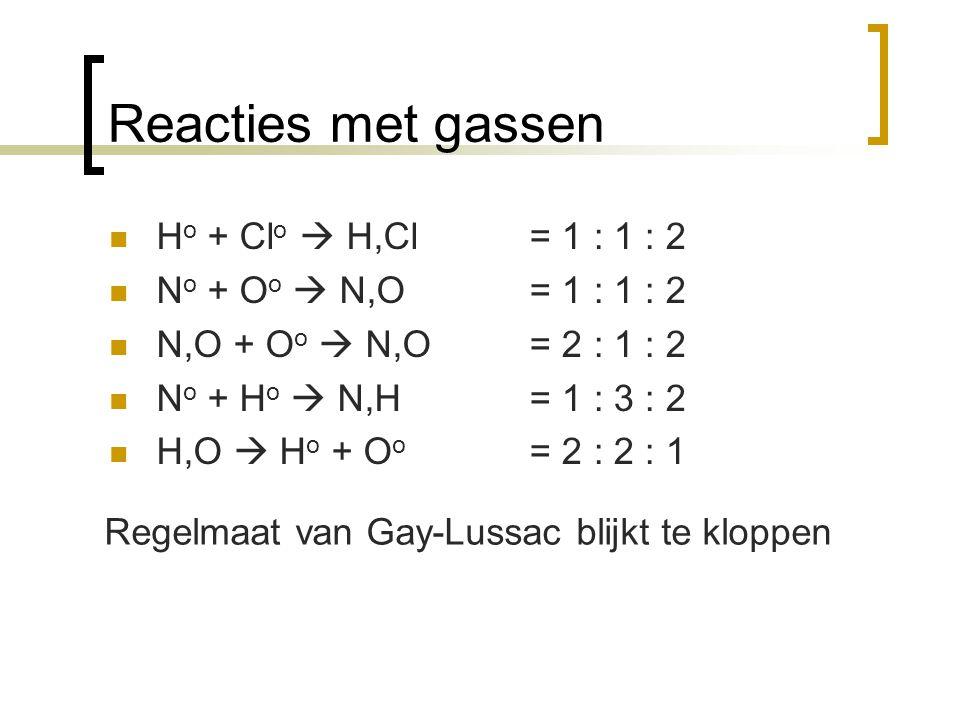 Reacties met gassen H o + Cl o  H,Cl N o + O o  N,O N,O + O o  N,O N o + H o  N,H H,O  H o + O o = 1 : 1 : 2 = 2 : 1 : 2 = 1 : 3 : 2 = 2 : 2 : 1