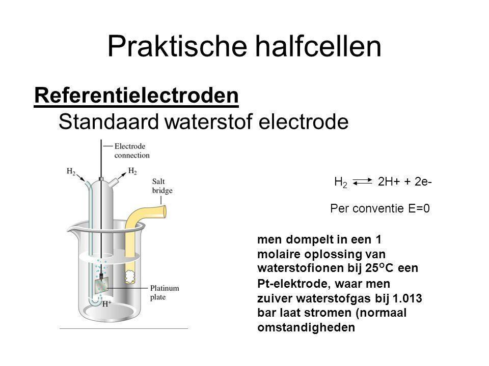 Praktische halfcellen Referentielectroden Standaard waterstof electrode H 2 2H+ + 2e- Per conventie E=0 men dompelt in een 1 molaire oplossing van waterstofionen bij 25°C een Pt-elektrode, waar men zuiver waterstofgas bij 1.013 bar laat stromen (normaal omstandigheden