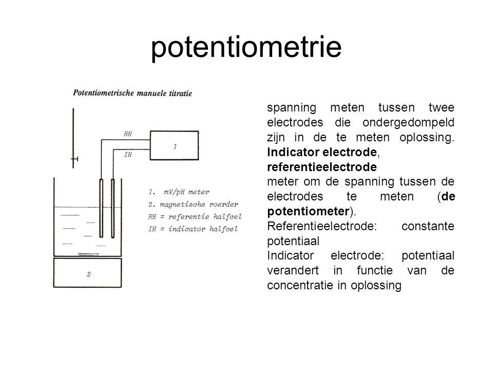 potentiometrie spanning meten tussen twee electrodes die ondergedompeld zijn in de te meten oplossing.