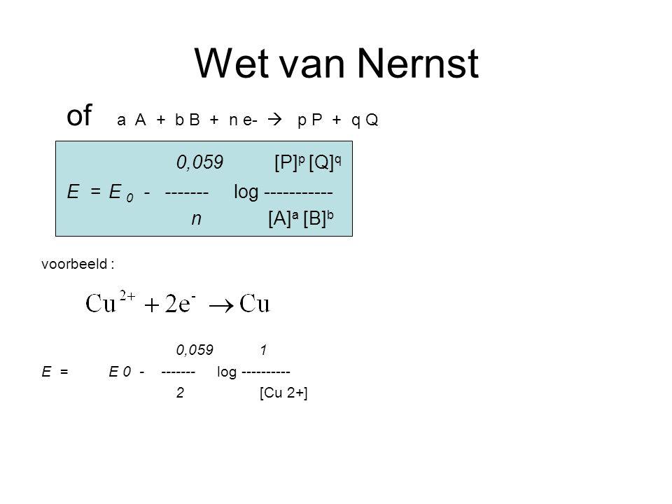 Wet van Nernst of a A + b B + n e-  p P + q Q 0,059 [P] p [Q] q E =E 0 - ------- log ----------- n [A] a [B] b voorbeeld : 0,059 1 E =E 0 - ------- log ---------- 2 [Cu 2+]