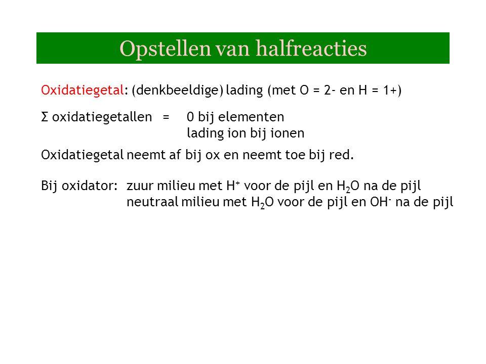 Opstellen van halfreacties Oxidatiegetal: (denkbeeldige) lading (met O = 2- en H = 1+) Oxidatiegetal neemt af bij ox en neemt toe bij red.