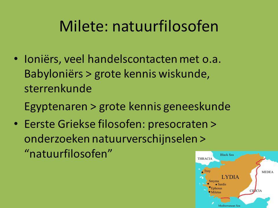 Milete: natuurfilosofen Ioniërs, veel handelscontacten met o.a.