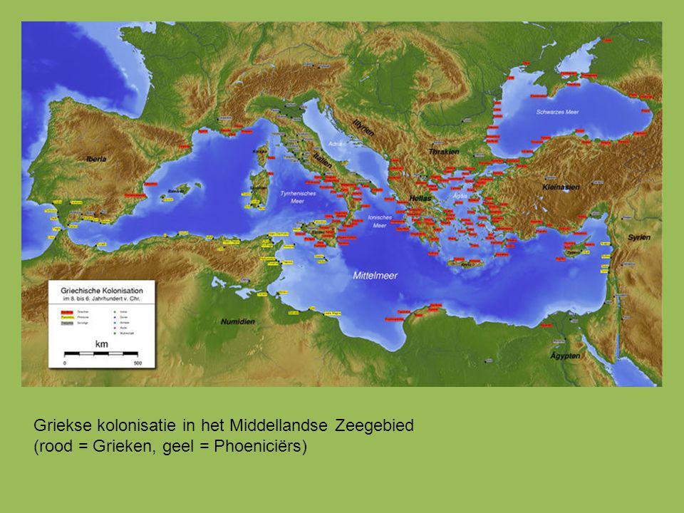 Griekse kolonisatie in het Middellandse Zeegebied (rood = Grieken, geel = Phoeniciërs)