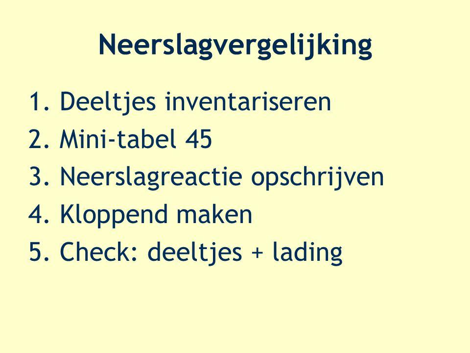 Neerslagvergelijking 1.Deeltjes inventariseren 2.Mini-tabel 45 3.Neerslagreactie opschrijven 4.Kloppend maken 5.Check: deeltjes + lading