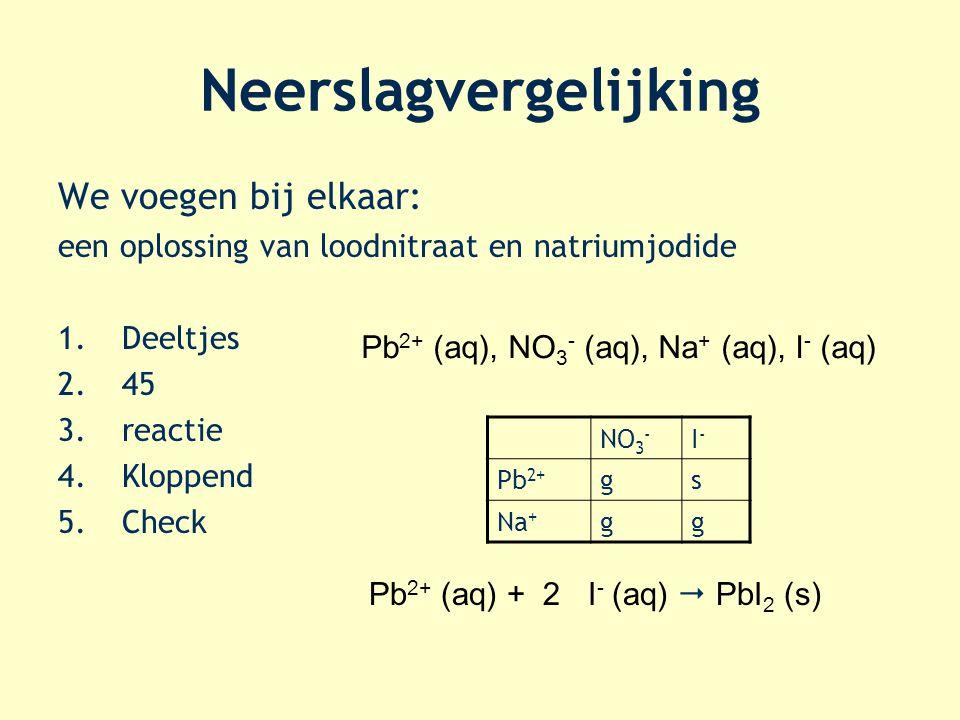 Neerslagvergelijking We voegen bij elkaar: een oplossing van loodnitraat en natriumjodide 1.Deeltjes 2.45 3.reactie 4.Kloppend 5.Check Pb 2+ (aq), NO