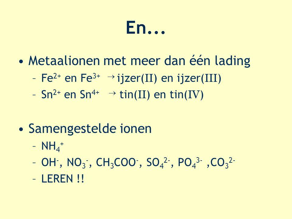 En... Metaalionen met meer dan één lading –Fe 2+ en Fe 3+  ijzer( II ) en ijzer( III ) –Sn 2+ en Sn 4+  tin( II ) en tin( IV ) Samengestelde ionen –
