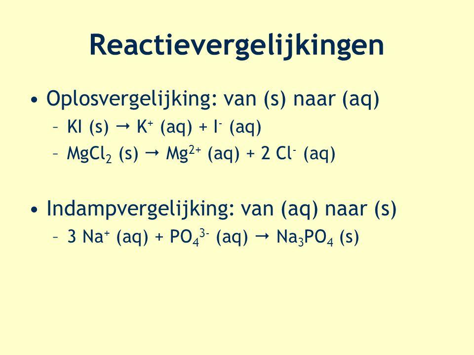 Reactievergelijkingen Oplosvergelijking: van (s) naar (aq) –KI (s)  K + (aq) + I - (aq) –MgCl 2 (s)  Mg 2+ (aq) + 2 Cl - (aq) Indampvergelijking: va