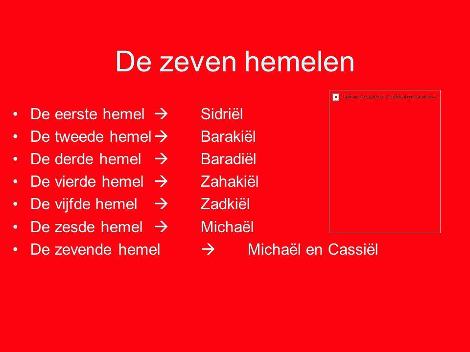 De zeven hemelen De eerste hemel  Sidriël De tweede hemel  Barakiël De derde hemel  Baradiël De vierde hemel  Zahakiël De vijfde hemel  Zadkiël D