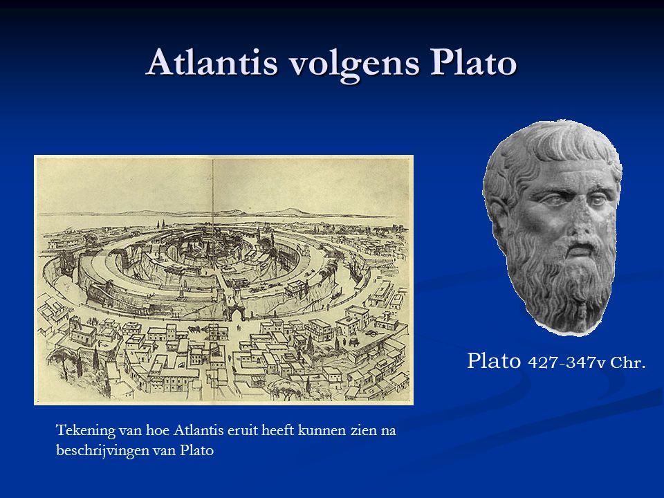 Atlantis volgens Plato Plato 427-347v Chr. Tekening van hoe Atlantis eruit heeft kunnen zien na beschrijvingen van Plato