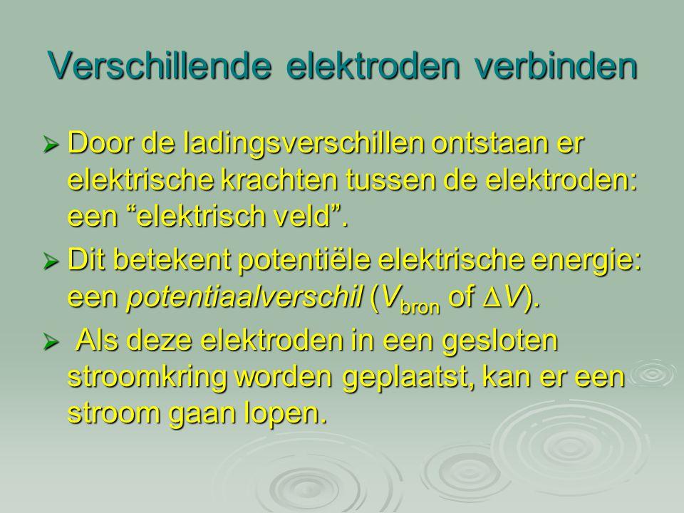 """Verschillende elektroden verbinden  Door de ladingsverschillen ontstaan er elektrische krachten tussen de elektroden: een """"elektrisch veld"""".  Dit be"""