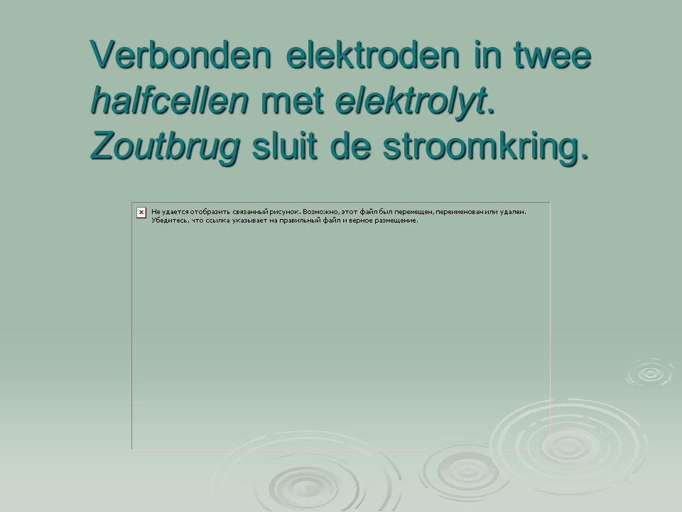 Een elektrochemische cel  Voorbeeld: een koper-tin cel:  De Cu-elektrode is positiever dan de Sn- elektrode.