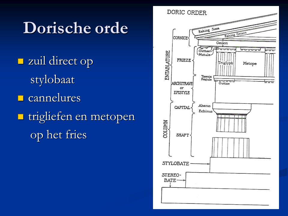 Dorische orde zuil direct op zuil direct op stylobaat stylobaat cannelures cannelures trigliefen en metopen trigliefen en metopen op het fries op het