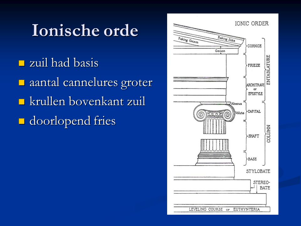 Ionische orde zuil had basis zuil had basis aantal cannelures groter aantal cannelures groter krullen bovenkant zuil krullen bovenkant zuil doorlopend