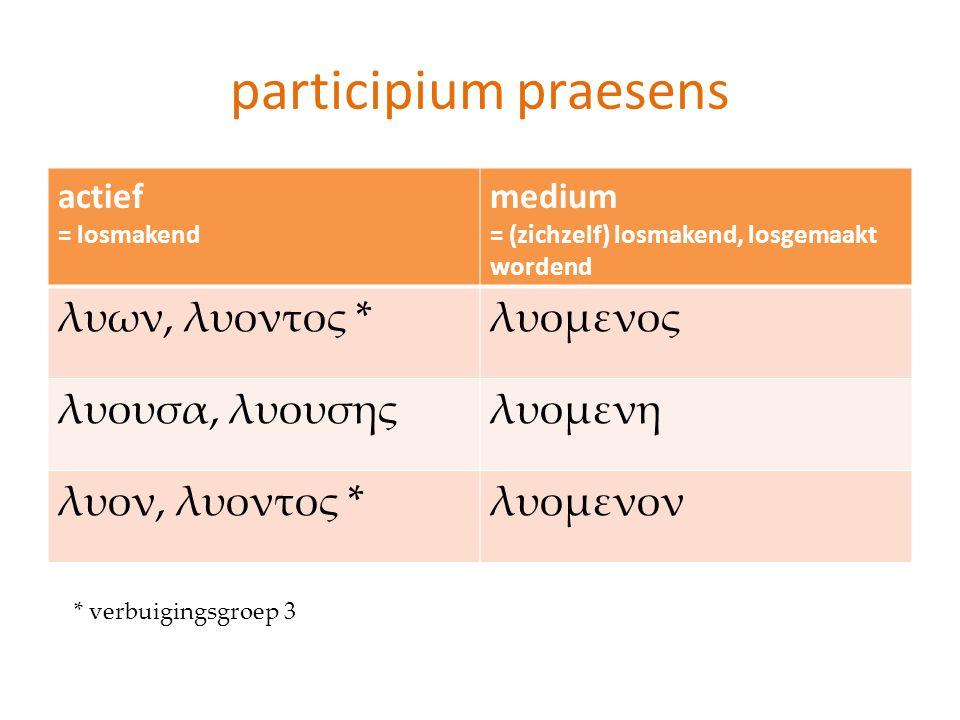 participium praesens actief = losmakend medium = (zichzelf) losmakend, losgemaakt wordend λυων, λυοντος *λυομενος λυουσα, λυουσηςλυομενη λυον, λυοντος
