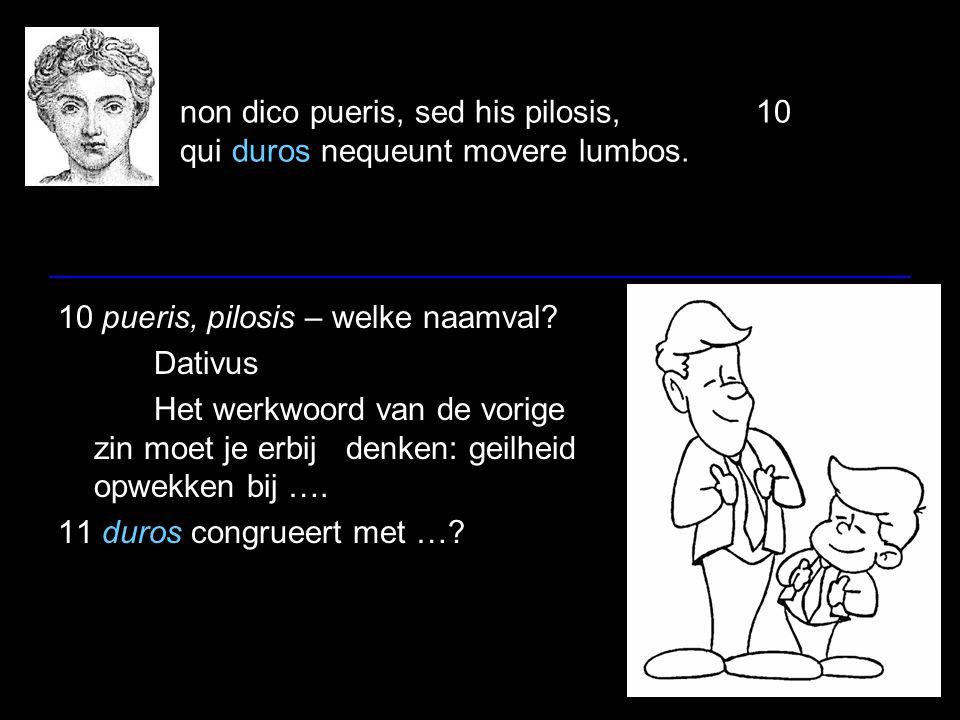 non dico pueris, sed his pilosis,10 qui duros nequeunt movere lumbos. 10 pueris, pilosis – welke naamval? Dativus Het werkwoord van de vorige zin moet