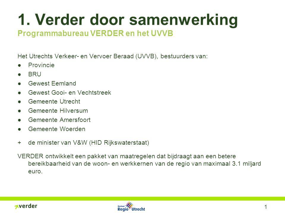 1 1. Verder door samenwerking Programmabureau VERDER en het UVVB Het Utrechts Verkeer- en Vervoer Beraad (UVVB), bestuurders van: ●Provincie ●BRU ●Gew