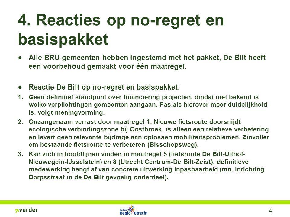 4 4. Reacties op no-regret en basispakket ●Alle BRU-gemeenten hebben ingestemd met het pakket, De Bilt heeft een voorbehoud gemaakt voor één maatregel
