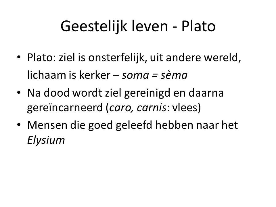 Geestelijk leven - Plato Plato: ziel is onsterfelijk, uit andere wereld, lichaam is kerker – soma = sèma Na dood wordt ziel gereinigd en daarna gereïncarneerd (caro, carnis: vlees) Mensen die goed geleefd hebben naar het Elysium