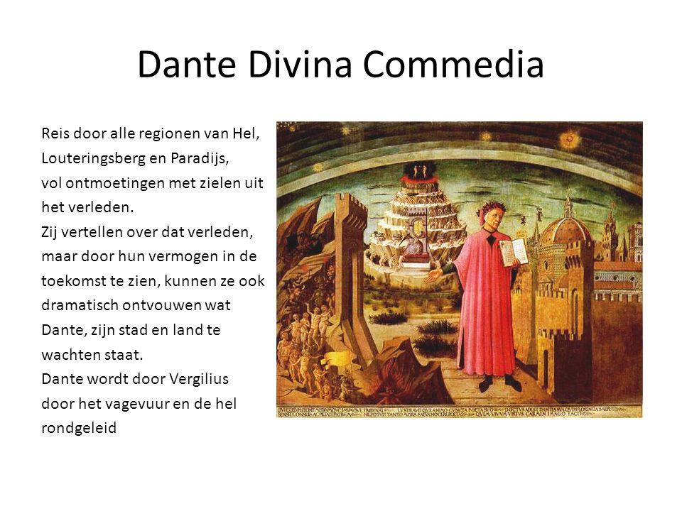 Dante Divina Commedia Reis door alle regionen van Hel, Louteringsberg en Paradijs, vol ontmoetingen met zielen uit het verleden.
