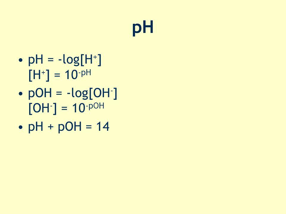 pH pH = -log[H + ] [H + ] = 10 -pH pOH = -log[OH - ] [OH - ] = 10 -pOH pH + pOH = 14