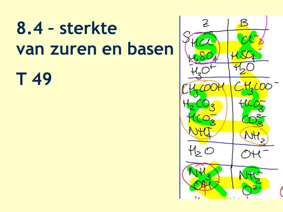 reactievergelijkingen HCl + H 2 O  Cl - + H 3 O + CH 3 COOH + H 2 O  CH 3 COO - + H 3 O + CO 3 2- + H 2 O  HCO 3 - + OH - O 2- + H 2 O  2 OH -