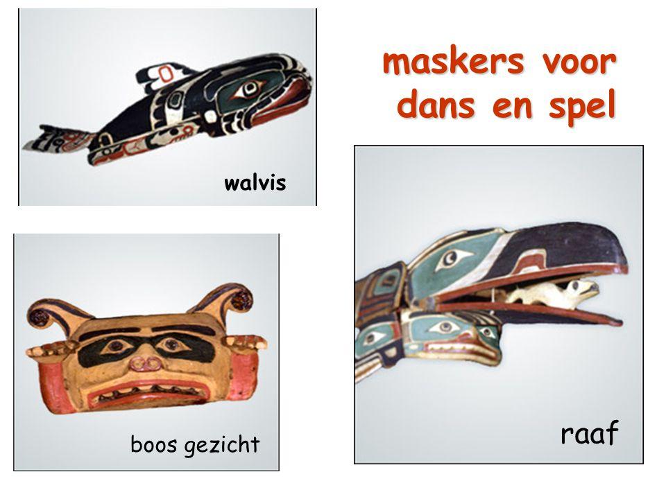 maskers voor dans en spel walvis raaf boos gezicht