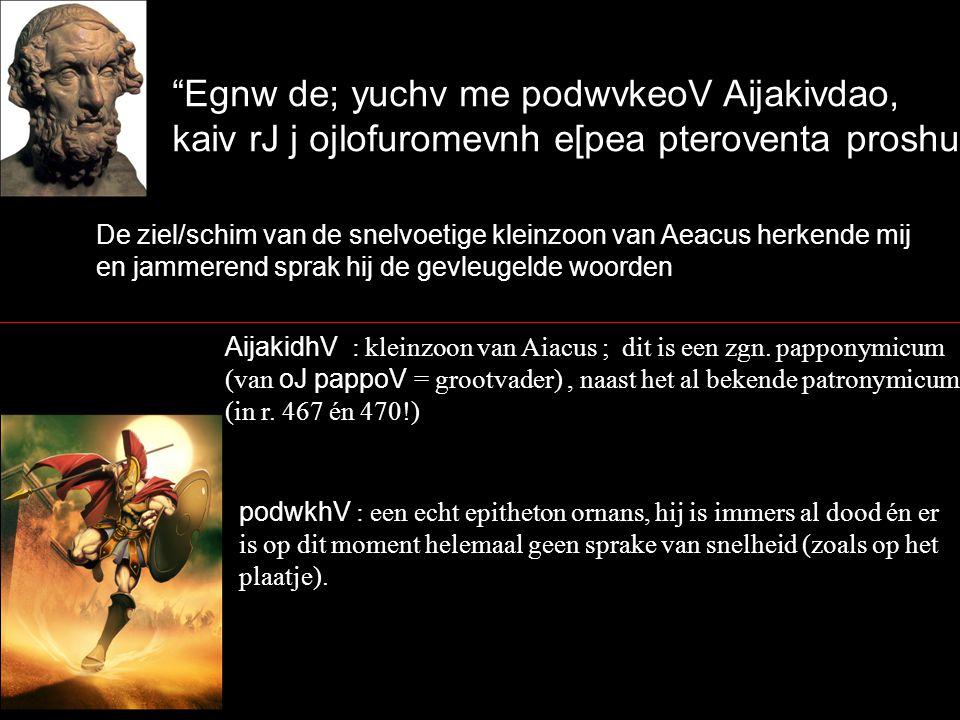 Egnw de; yuchv me podwvkeoV Aijakivdao, kaiv rJ j ojlofuromevnh e[pea pteroventa proshuvda` De ziel/schim van de snelvoetige kleinzoon van Aeacus herkende mij en jammerend sprak hij de gevleugelde woorden AijakidhV : kleinzoon van Aiacus ; dit is een zgn.