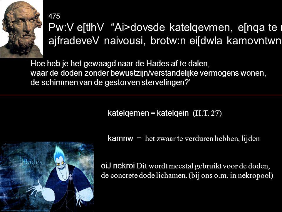 475 Pw:V e[tlhV Ai>dovsde katelqevmen, e[nqa te nekroi; ajfradeveV naivousi, brotw:n ei[dwla kamovntwn~ Hoe heb je het gewaagd naar de Hades af te dalen, waar de doden zonder bewustzijn/verstandelijke vermogens wonen, de schimmen van de gestorven stervelingen ' katelqemen = katelqein (H.T.
